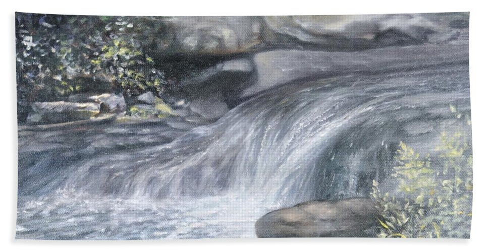 Oil Paintings Of Water Falls Bath Sheet featuring the painting Stepping Stones by Penny Neimiller