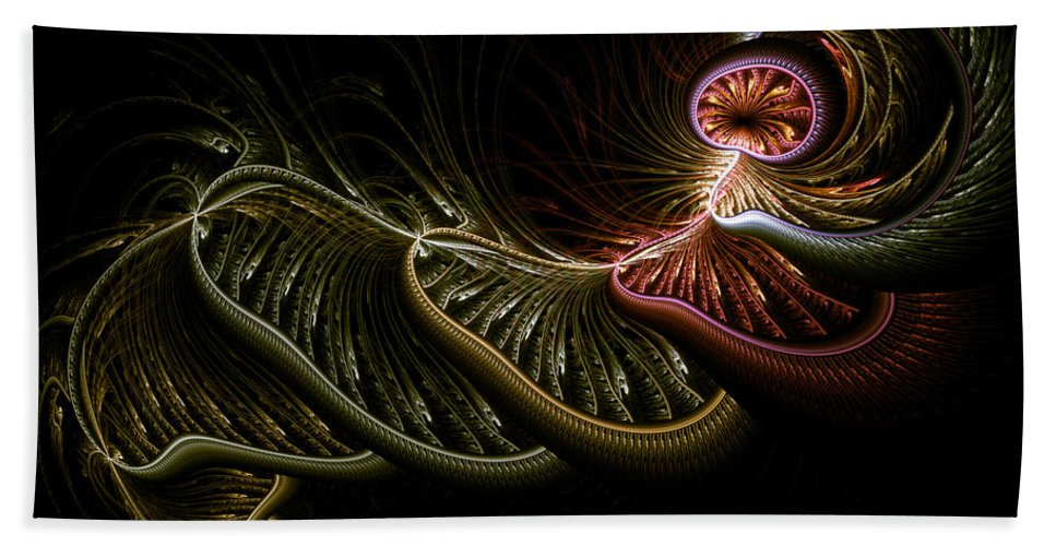 Abstract Hand Towel featuring the digital art Stepping Through Time by Casey Kotas