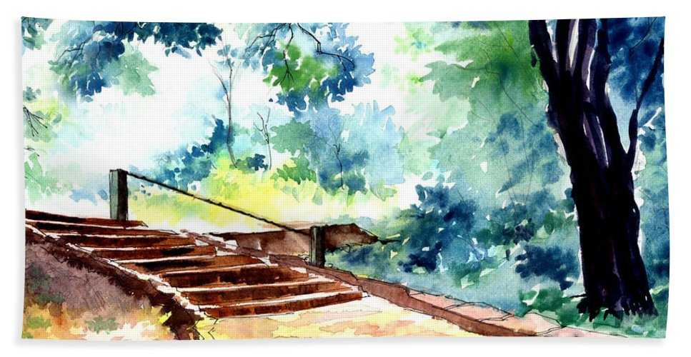 Landscape Bath Towel featuring the painting Steps To Eternity by Anil Nene