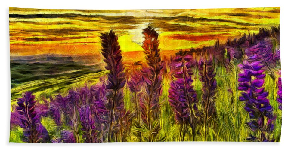 Lupine Hand Towel featuring the mixed media Steptoe Lupine by Mark Kiver