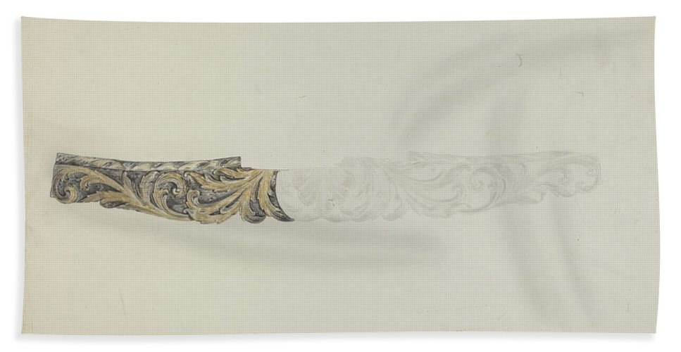 """Hand Towel featuring the drawing Stern Piece From """"henrietta Francis"""" by American 20th Century"""