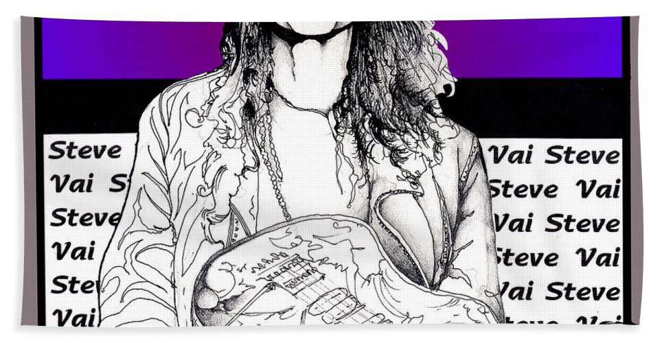 Steve Vai Hand Towel featuring the mixed media Steve Vai Sitting by Curtiss Shaffer