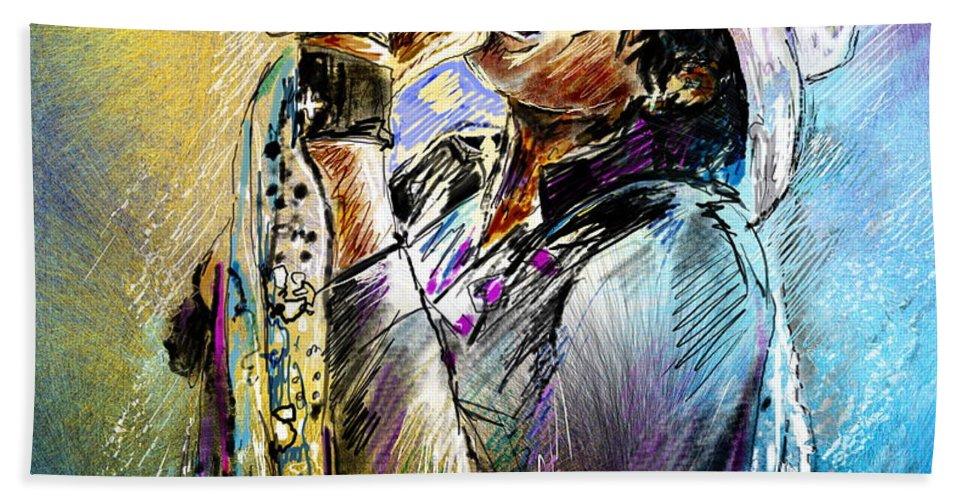 Portraits Hand Towel featuring the painting Steven Tyler 01 Aerosmith by Miki De Goodaboom