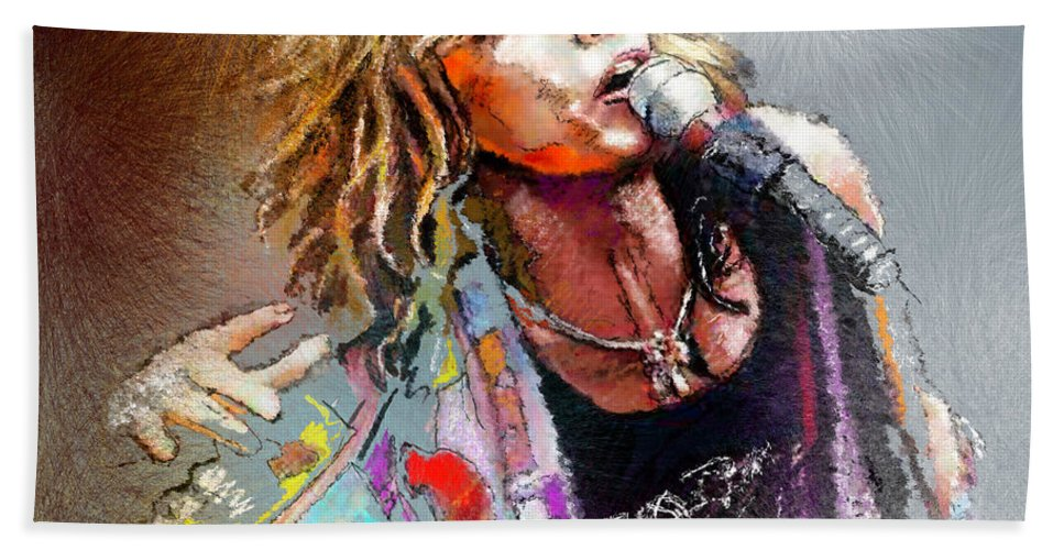 Musicians Hand Towel featuring the painting Steven Tyler 02 Aerosmith by Miki De Goodaboom