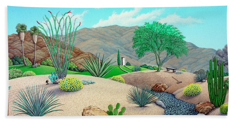Landscape Bath Sheet featuring the painting Steve's Yard by Snake Jagger