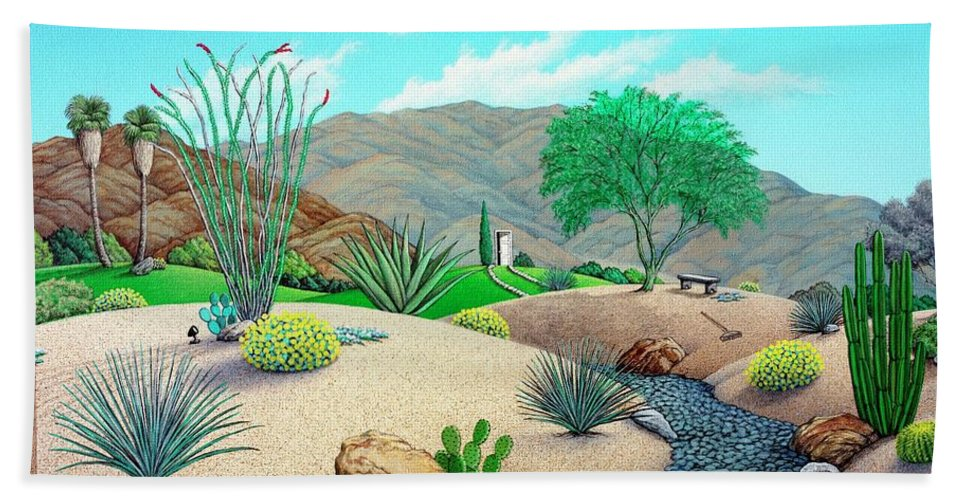 Desert Bath Towel featuring the painting Steves Yard by Snake Jagger