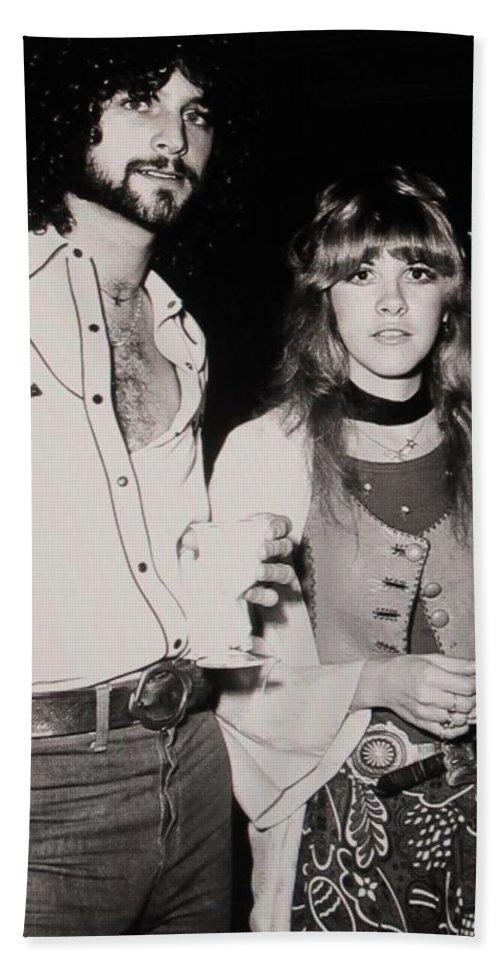 Stevie Nicks Bath Sheet featuring the photograph Stevie Nicks And Lindsey Buckingham by Donna Wilson