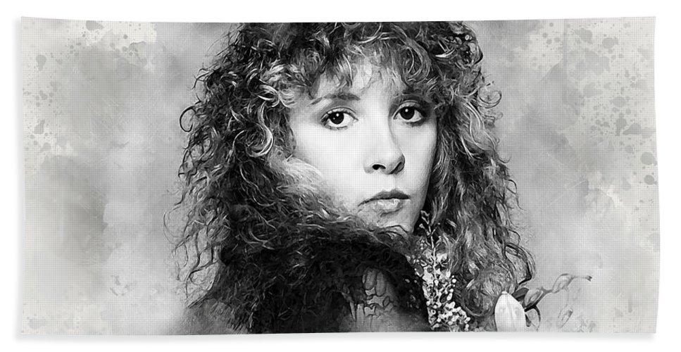 Stevie Nicks Bath Towel featuring the digital art Stevie Nicks by Karl Knox Images