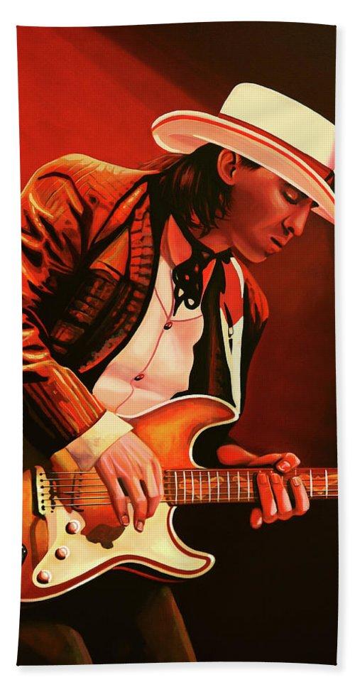 Stevie Ray Vaughan Bath Sheet featuring the painting Stevie Ray Vaughan Painting by Paul Meijering