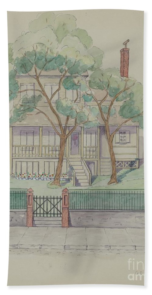 Hand Towel featuring the drawing Stewart House by Gladys Cook