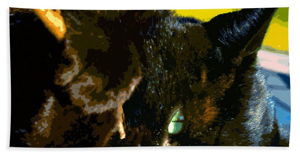 Cat Bath Sheet featuring the painting Stick Play by David Lee Thompson