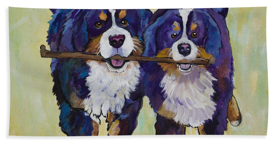 Bernese Mountain Dogs Hand Towel featuring the painting Stick Together by Pat Saunders-White