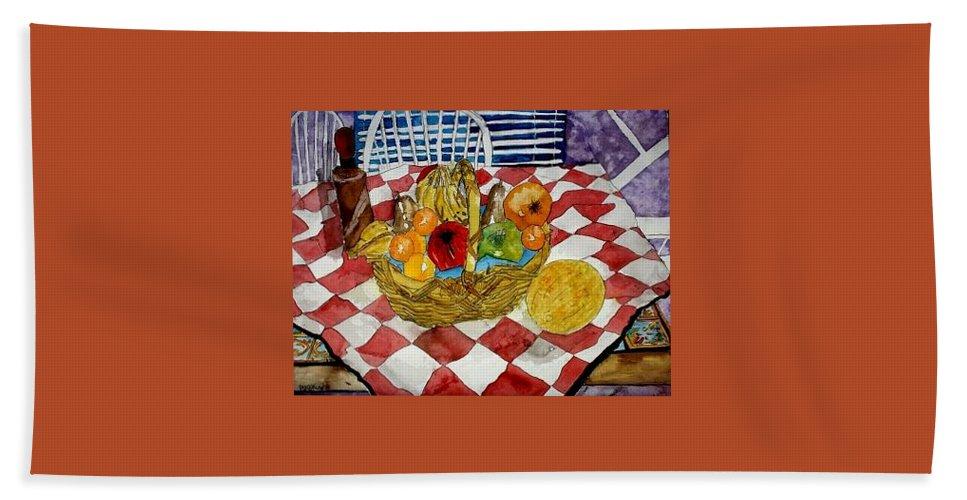 Still Life Watercolor Bath Sheet featuring the painting Still Life Art Fruit Basket 3 by Derek Mccrea