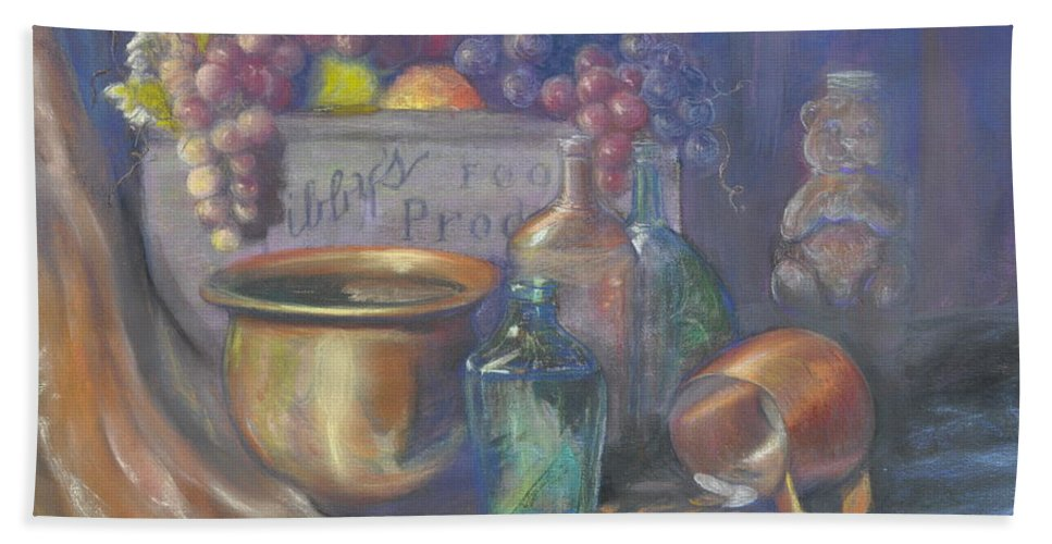 Still Life Paintings Bath Sheet featuring the painting Still Life Honey Bear by Penny Neimiller