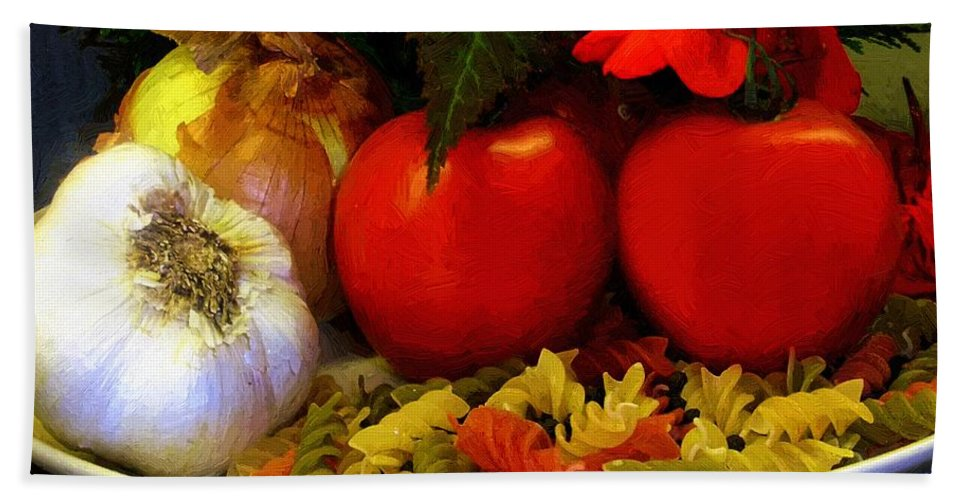 Food Hand Towel featuring the painting Still Life Italia by RC DeWinter