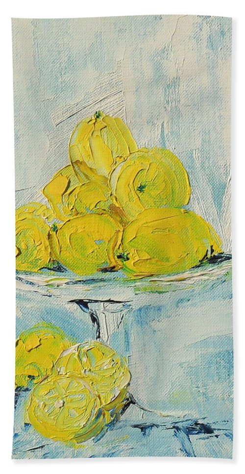 Oil Bath Sheet featuring the painting Still Life - Lemons by Shirley Heyn