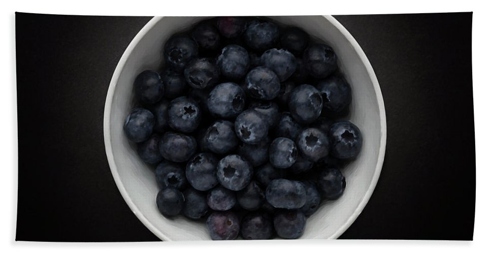 Fruit Salad Hand Towel featuring the photograph Still Life Of A Bowl Of Blueberries. by Phill Thornton