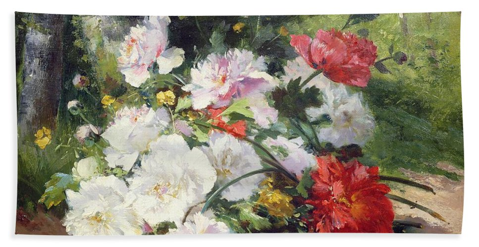 Still Bath Sheet featuring the painting Still Life Of Flowers by Eugene Henri Cauchois