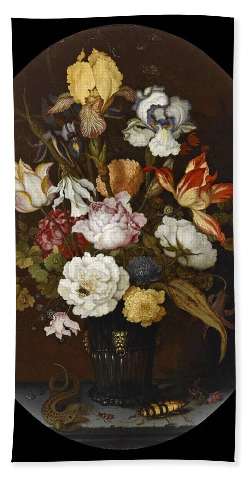 Balthasar Van Der Ast Bath Sheet featuring the painting Still Life Of Flowers In A Glass Vase by Balthasar van der Ast