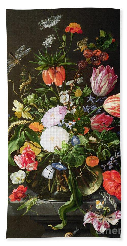 Still Bath Towel featuring the painting Still Life of Flowers by Jan Davidsz de Heem