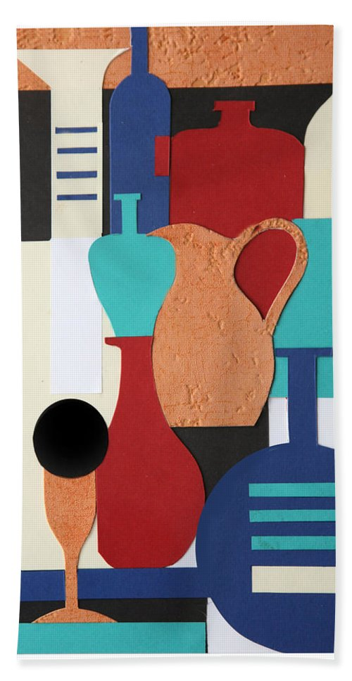 Still Life Hand Towel featuring the mixed media Still Life Paper Collage Of Wine Glasses Bottles And Musical Instruments by Mal Bray