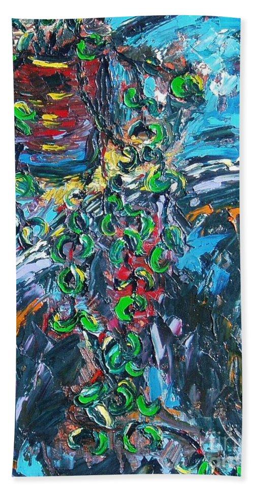 Sjkim Art Bath Sheet featuring the painting Abstract Still Life by Seon-Jeong Kim