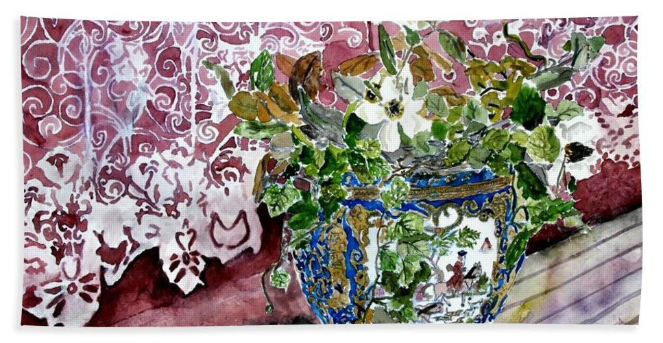 Still Life Hand Towel featuring the painting Still Life Vase And Lace Watercolor Painting by Derek Mccrea
