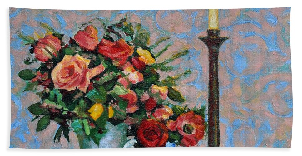 Flowers Bath Towel featuring the painting Still life with a Lamp by Iliyan Bozhanov