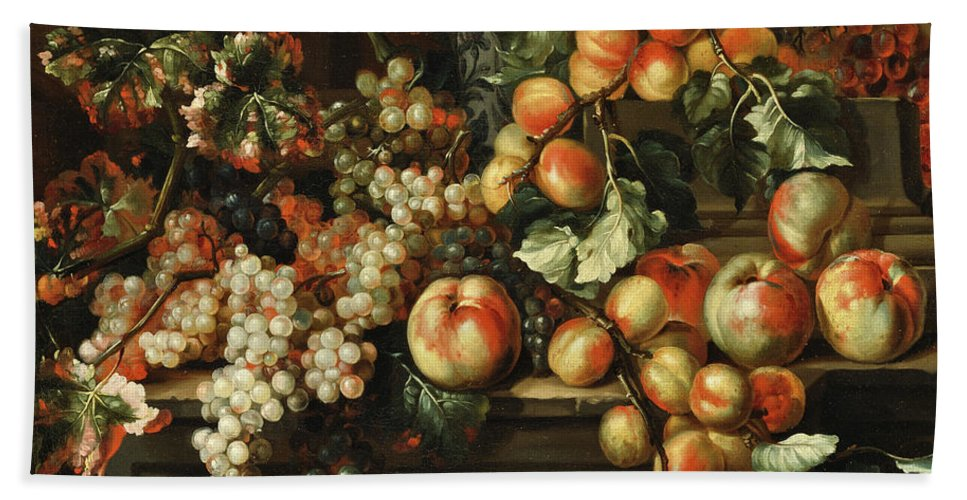 Apples And Grapes Hand Towel featuring the painting Still Life With Apples And Grapes by Michelangelo di Campidoglio