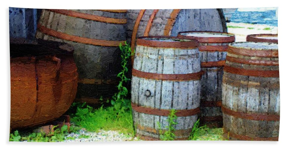 Antique Bath Towel featuring the painting Still Life With Barrels by RC DeWinter