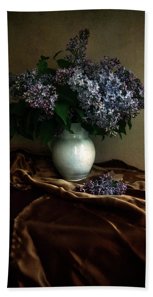 Flower Hand Towel featuring the photograph Still Life With Bouqet Of Fresh Lilac by Jaroslaw Blaminsky