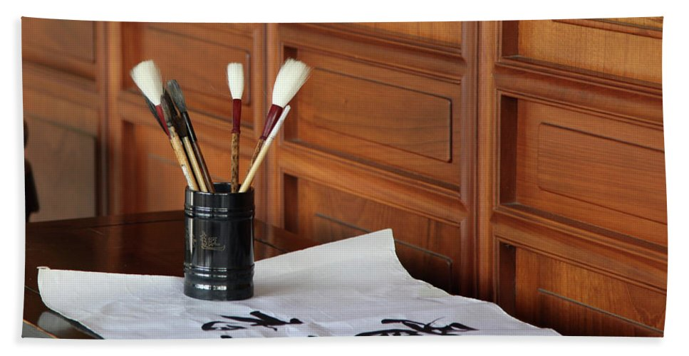 Calligraphy Hand Towel featuring the photograph Still Life With Brushes by Dean Triolo
