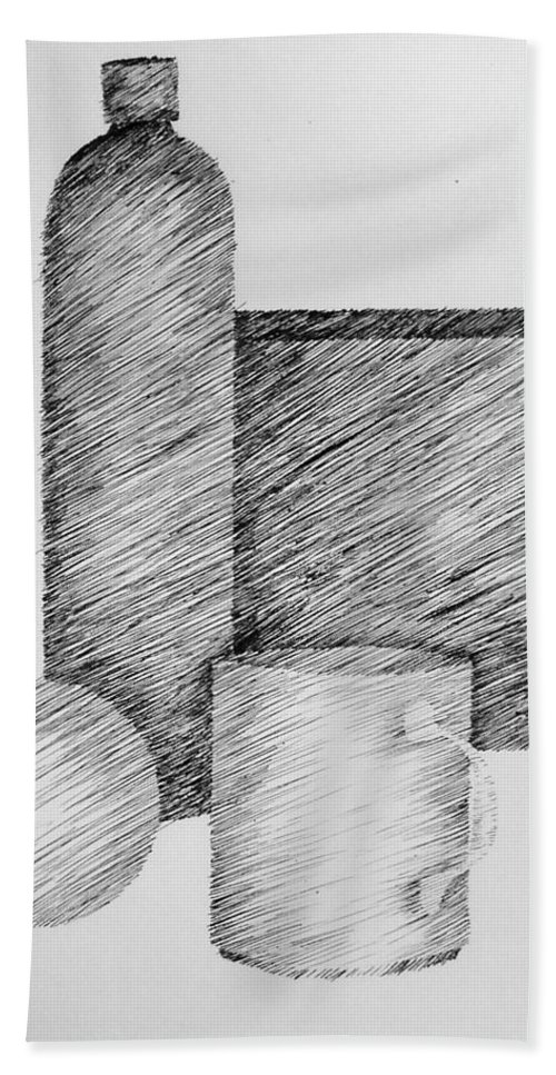 Still Life Bath Sheet featuring the drawing Still Life With Cup Bottle And Shapes by Michelle Calkins