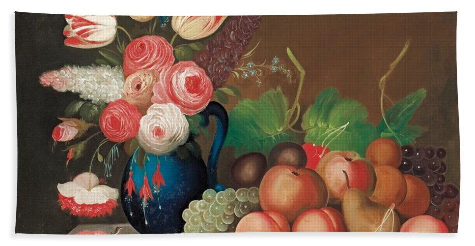 Flower Hand Towel featuring the painting Still Life With Fruit And Flowers by William Buelow Gould