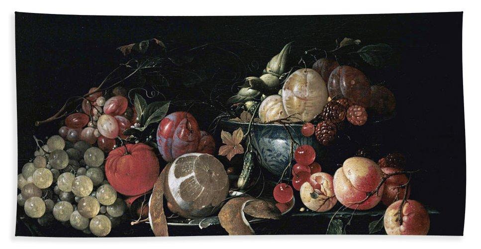 Cornelis De Heem Bath Sheet featuring the painting Still Life With Fruit by Cornelis de Heem