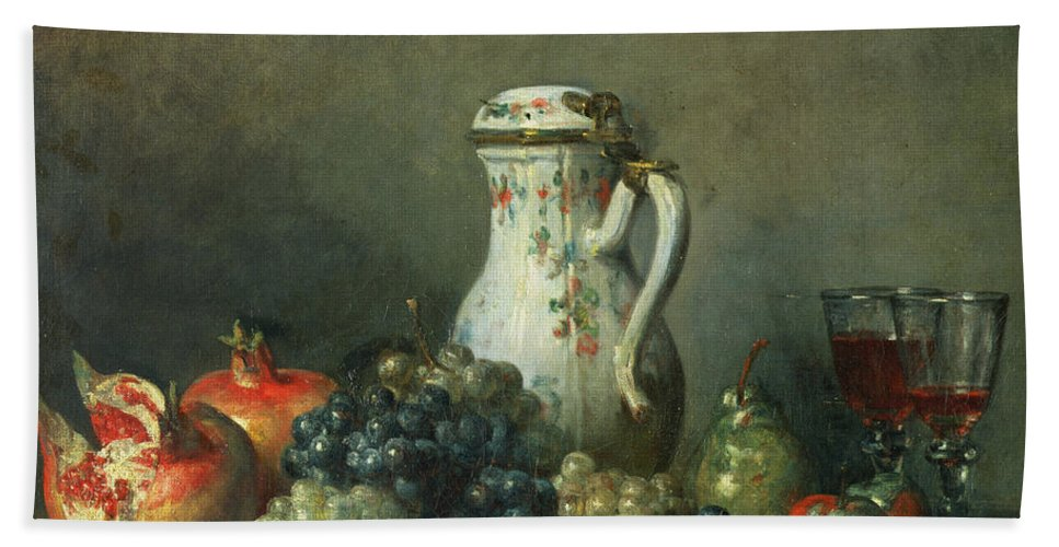 Still Life With Grapes And Pomegranates Bath Sheet featuring the painting Still Life With Grapes And Pomegranates by Jean-Baptiste Simeon Chardin