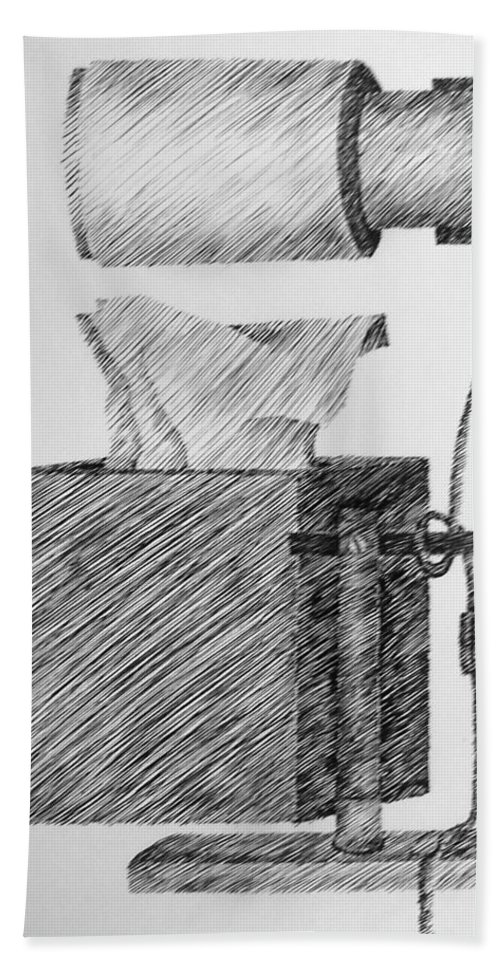 Still Life Bath Towel featuring the drawing Still Life With Lamp And Tissues by Michelle Calkins