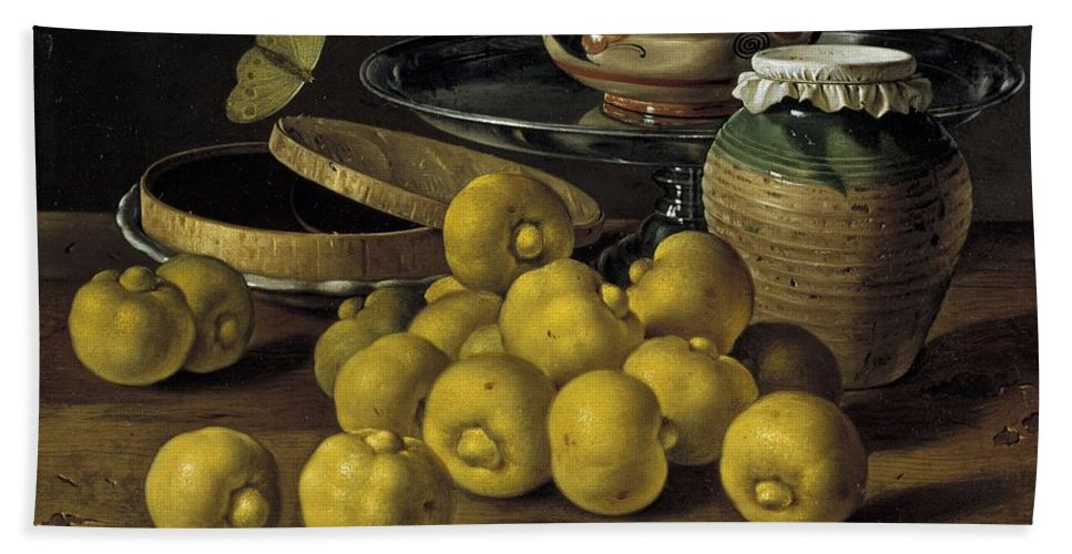 Luis Melendez Hand Towel featuring the painting Still Life With Lemons And A Pot Of Honey by Luis Egidio Melendez