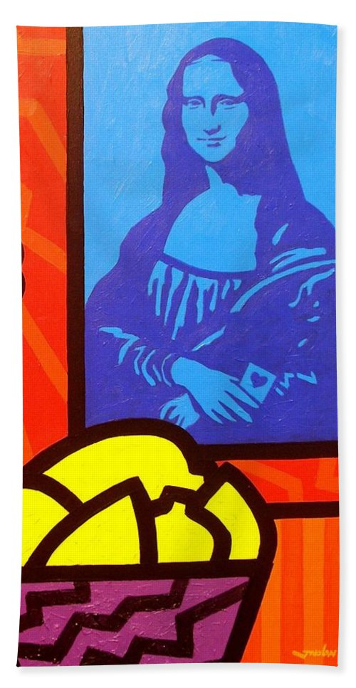 Mona Lisa Hand Towel featuring the painting Still Life With Matisse And Mona Lisa by John Nolan