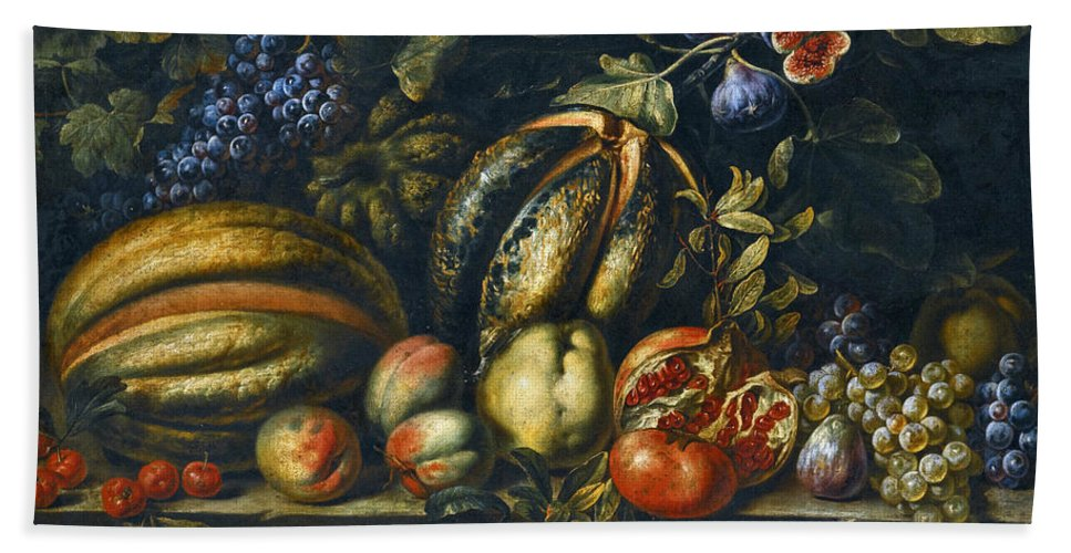 Roman School Bath Sheet featuring the painting Still Life With Melons Apples Cherries Figs And Grapes On A Stone Ledge by Roman School