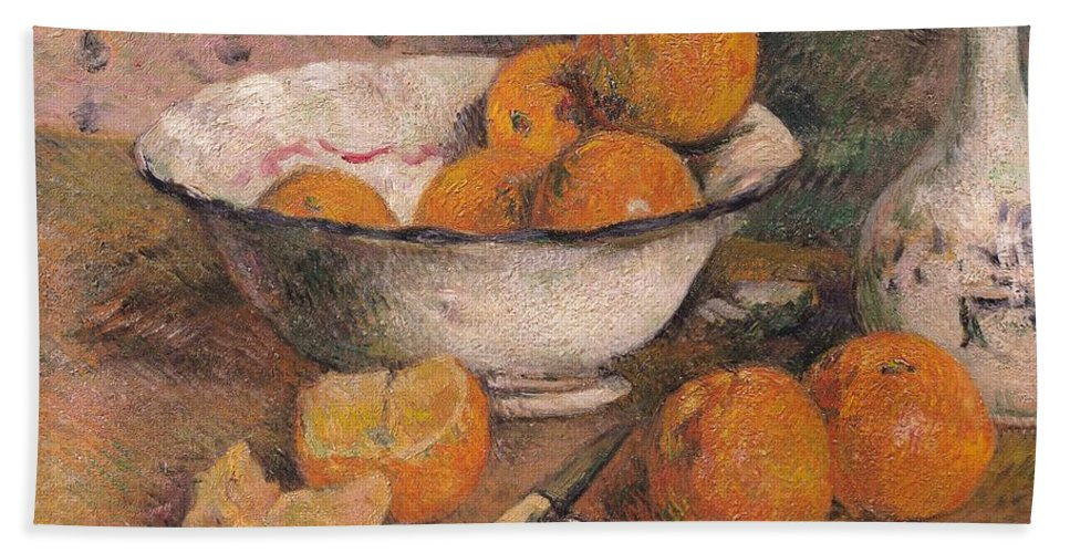 Still Life With Oranges Bath Sheet featuring the painting Still Life With Oranges by Paul Gauguin