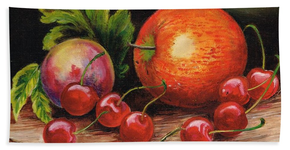 Still Life Bath Sheet featuring the painting Still Life With Peaches And Cherries by Val Stokes