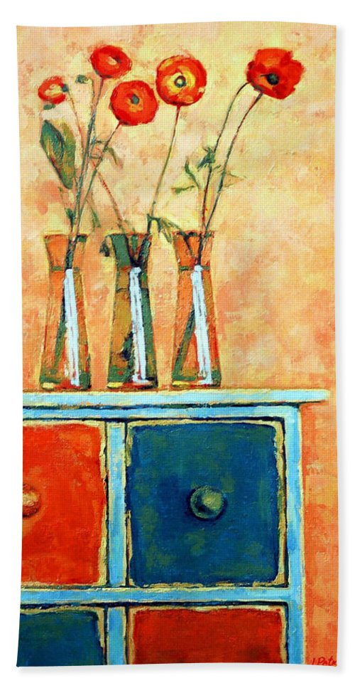 Poppies Bath Towel featuring the painting Still life with poppies by Iliyan Bozhanov