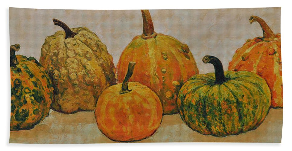 Still Life Hand Towel featuring the painting Still Life With Pumpkins by Iliyan Bozhanov