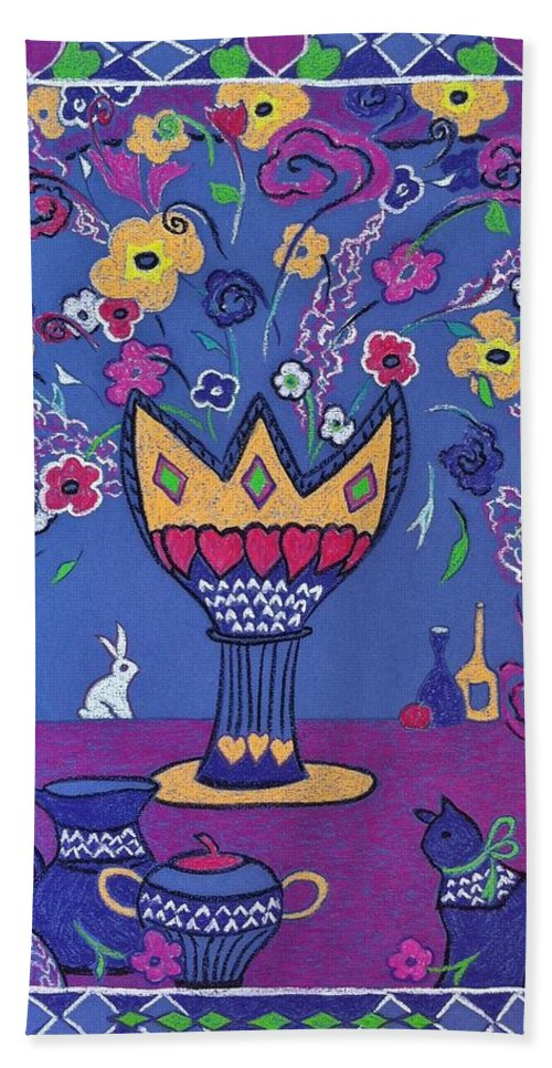 Flowers Bath Sheet featuring the painting Still Life With Rabbit by Heather McFarlane-Watson