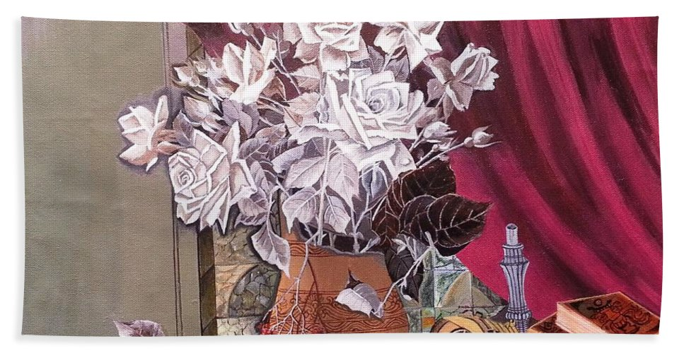 Still Life Hand Towel featuring the painting Still Life With Roses And Books by Rupa Prakash