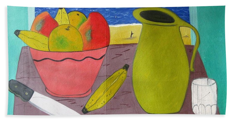 Still Life Bath Sheet featuring the painting Still Life With Sunsed by Francisco Vidal