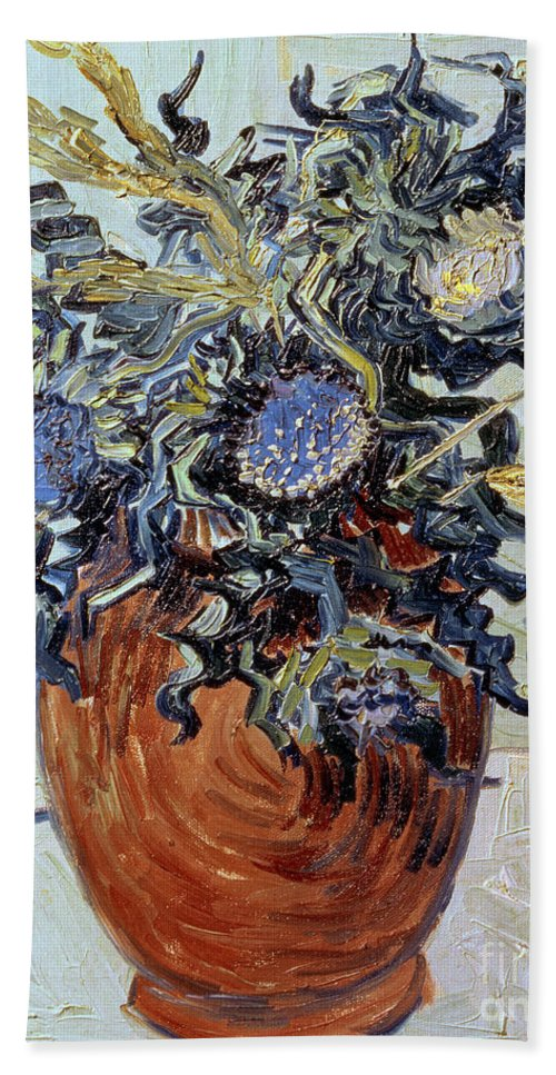 Still Life With Thistles Bath Sheet featuring the painting Still Life With Thistles by Vincent van Gogh