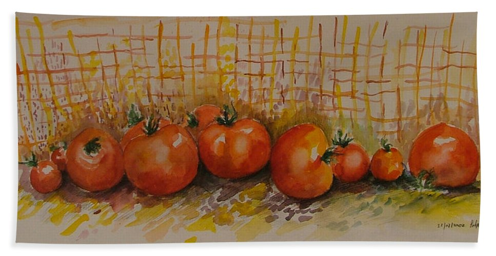 Tomatoes Hand Towel featuring the painting Still Life With Tomatoes by Rita Fetisov