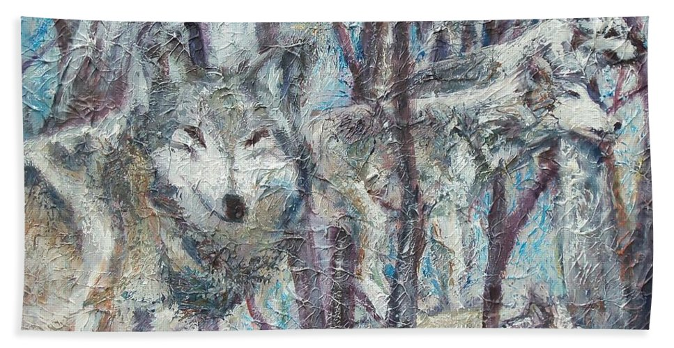 Wolves Hand Towel featuring the painting Still Of The Night by Sheila Holland